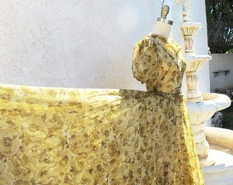 1/2 Off SALE Vintage Long 40s Dress, 1940 Sheer Bias Cut Gown,