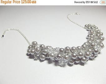 30% OFF SALE thru Mon Silver Gray Pearl and Crystal Necklace, Wedding Bridesmaid Mothers Day Mom Sister Birthday Jewelry Gift, Valentines Da