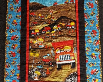 Construction Equipment Quilted Blanket, Dump Truck Backhoe Baby Blanket, Crib or Lap Quilted Blanket