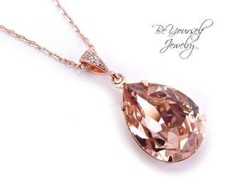 Blush Bridal Necklace Rose Gold Wedding Jewelry Soft Pink Pastel Bride Teardrop Necklace Swarovski Crystal Vintage Rose Bridesmaid Gift Pink