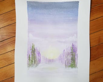 Sunrise watercolor. Forest watercolor.