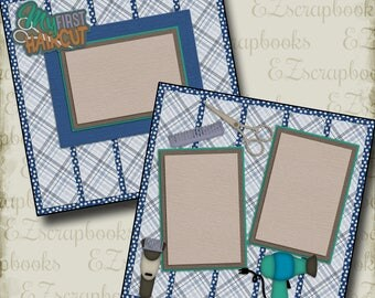 FIRST HAIRCUT Boy - 2 Premade Scrapbook Pages - EZ Layout 2153