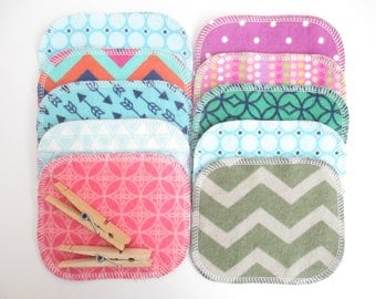 "Reusable Cloth Wipes--Mini Size--Makeup Removal--Set of 10--LIMITED EDITION--""Flip Flopped""--Modern Patterns Mix--Ready to Ship"
