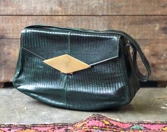 1960's Green Lizard Handbag Purse