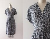vintage 1950s sheer dress // 50s dress with belt