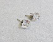 Faceted Crystal Cube Pierced Earrings, Vintage, Petite Post Earrings