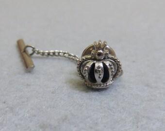 Vintage SWANK  Silvery Crown Tie Tack