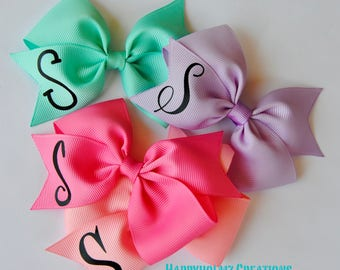 Monogrammed hair bow personalized hair bows hair bows with initial girls custom hair bows bows with first name initial toddlers monogram bow