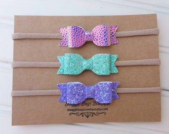 Set of 3 Mini Mermaid Inspired Bows-  LIMITED EDITION- Glitter and Faux Leather Bow Headbands- Nylon Headbands - Beach Mermaid Headbands