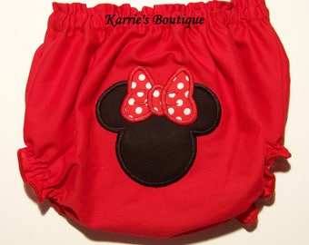 Minnie Mouse Diaper Cover / Red / Black / Bloomer / Princess / Disney Vacation / Mickey / Birthday / Cake Smash / Custom Boutique Clothing