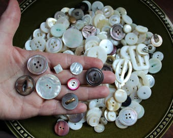 Shell buttons, 1 pound, all sizes, carved, vintage MOP