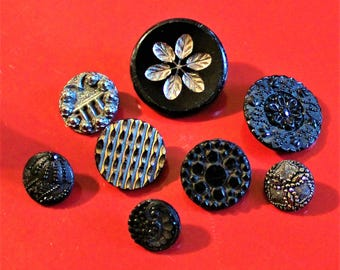 Black Glass Buttons, Vintage, Silver Luster, Buckle Button, Lacy