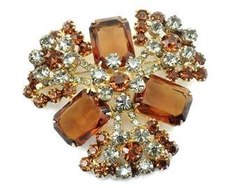 Vintage D&E Juliana Topaz Crystal Rhinestone Tiered Brooch CONFIRMED!