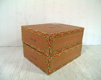 Vintage Cigar Boxes Set of 2 Corral-Wodiska y Ca No. 48 Cigar Boxes for Mancave or Cigar Bar Decor Display Art Projects Storage Organization