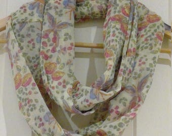 Pretty floral Infinity scarf lemon/beige background with pink flowers and blue butterflies - loop endless circle scarf-tube eternity pastel