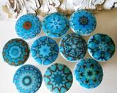 10 drawer knobs;aqua blue teal hand decorated chakra healing mandalas 1 1/2 inches diameter wood aqua drawer knobs set of 10