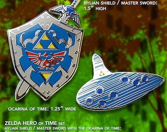 Legend of Zelda Hero of Time Pin Set / Hylian Shield / Master Sword / Ocarina of Time  / Hard Enamel Pin / Lapel Geek Pin