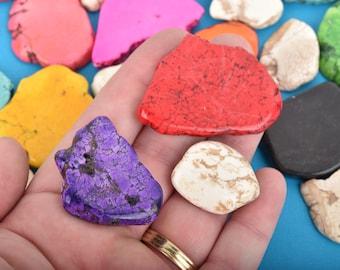 BULK 1 pound of Howlite Magnesite Slab Gemstone Beads, mixed colors, sizes vary, how0664