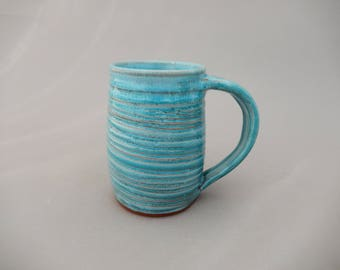 Turquoise  Handmade Pottery Coffee Mug - Glazed Terracotta - Ceramic Holiday Gift