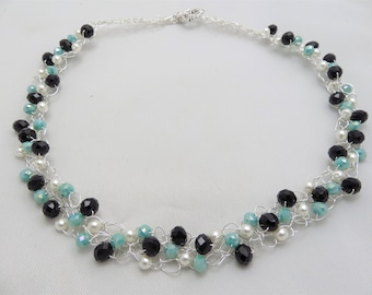crochet wire necklace black and turquoise crystals  and white pearl crochet statement necklace