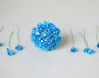10 mm  /  30  Blue   Paper Flowers , Gypsophila with Pollen  Paper Flowers