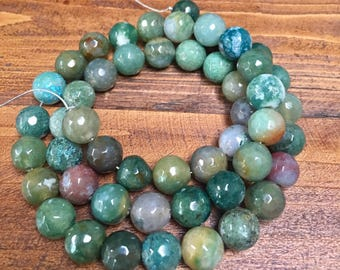 6mm 8mm indian agate faceted round smooth beads clearance 22in