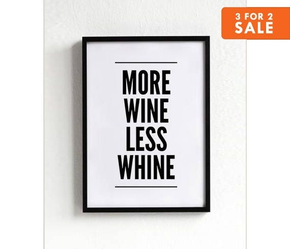 Black And White Wine Wall Decor : Wine poster funny wall decor black and white print