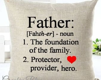 Father Dad Definition Father's Day Pillow Cover Decorative Throw Pillow Case Cover
