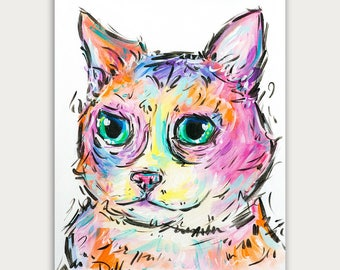 Custom Cat Paintings, Pet Portrait, Colorful Art, Acrylic On canvas, Wall Decor, Home Decor