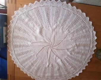 Hand knitted baby circular shawl