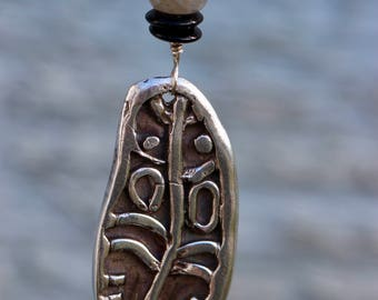 Tribal Feather Pendant in Fine Silver