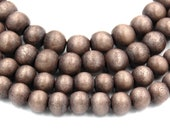 Whipped Cocoa Brown Beads 6mm 8mm 10mm Boho Neutral Brown Wood beads -16 inch strand