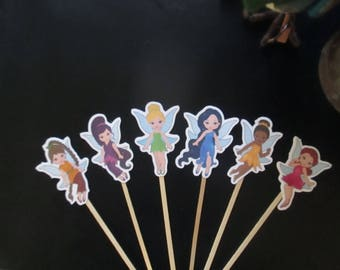 Tinkerbell and Friends Inspired Cupcake Toppers Set of 36  with Free Shipping