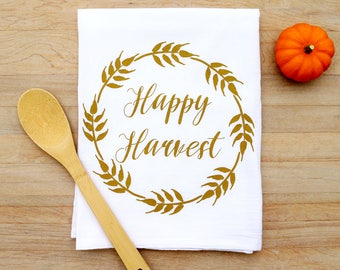 Harvest Fall Tea Towel Thanksgiving Flour Sack Towel Hostess Gift Autumn Decor