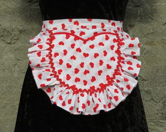 Valentine's Gift Apron White Red Hearts Sweetheart Pocket Rickrack Trim Sweet Sexy
