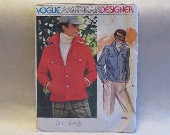 Vintage Vogue 1316 Bill Blass Mens Jacket Sewing Pattern Chest 42 FF