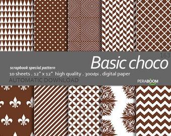 Brown Digital Paper, Digital Paper Pack in Brown Polka Dots, Stripes, Quatrefoil, Basics Series, Small Commercial Use Ok - Instant Download