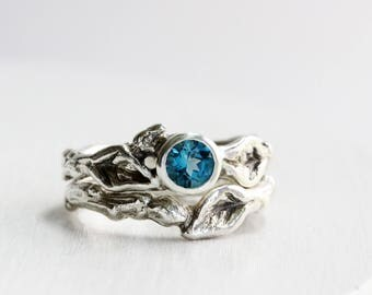 London Blue Topaz Engagement Ring Set, Silver Twig Rings, Nature Ring,Leaf Ring