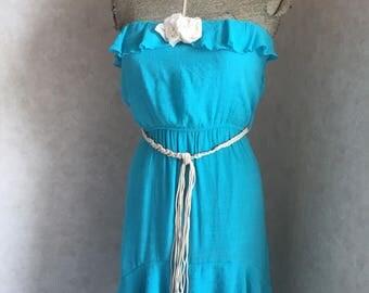 Boho dress, hi-low dress, blue teal dress, beaded fringe belt dress, off shoulder dress, ruffled dress, sundress, upcycled dress