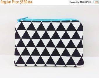 Summer SALE - Triangles Coin Purse, Blue, Padded Pouch, Small Zipper Pouch, Card Pouch, Black & White, Gift idea
