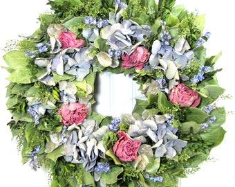 Dried Flower Wreath with Hydrangea, Salal Wreath