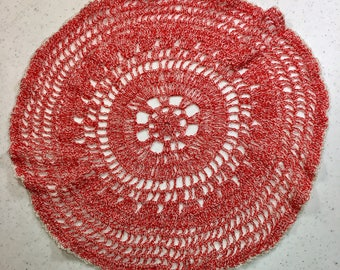 Vintage Red and White Hand Crochet Doily, Red Variegated Round Crochet Doily, 13 Inches Round, Parlor Table, Home Decor, Holiday Decorating