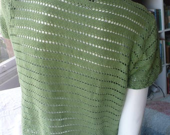 Green organic cotton crochet top M