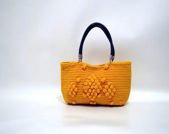 Valentines day gift Crochet  shoulder bag -Handmade Mustard Yellow  Knit Bag, Crochet moms bag,satchel, fashion Tote Handmade Bag Unique Bag