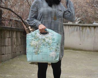 Handbag TOTE BAG world map / / atlas print / / handmade / / canvas / / gift for woman  Travel,School,Daily /Unisex Rucksack