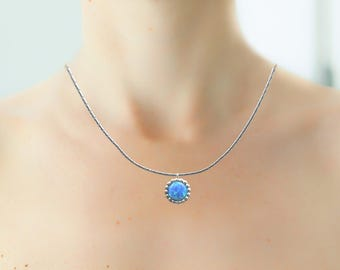 Opal Pendant Necklace, Opal Jewelry, Opal Necklace, Delicate Opal Necklace, Blue Opal Necklace, Silver Small Necklace, Fire Opal Necklace