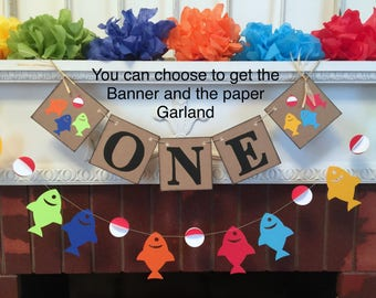 I am One Banner - Gone Fishing 1st birthday cake Smash photo prop - fish High Chair garland  - first birthday garland - your color choices