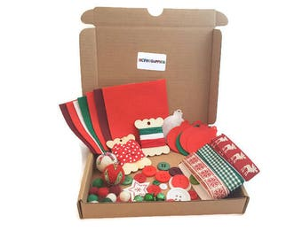 Christmas craft kit felt buttons DIY make your own how to sewing kits xmas easy crafts BOX 7