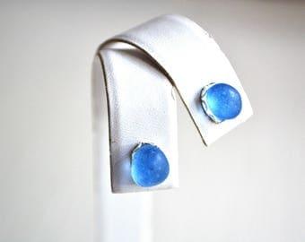 Cornflower Blue Rare Genuine Sea Glass Post or Stud Earrings in Sterling Silver Mounts