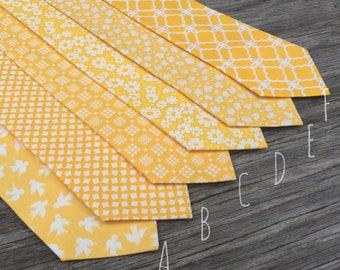 Yellow Groomsmen Ties, yellow neck tie, ties for men, ties for babys, matching tie and pocket square, baby yellow tie,  yellow necktie